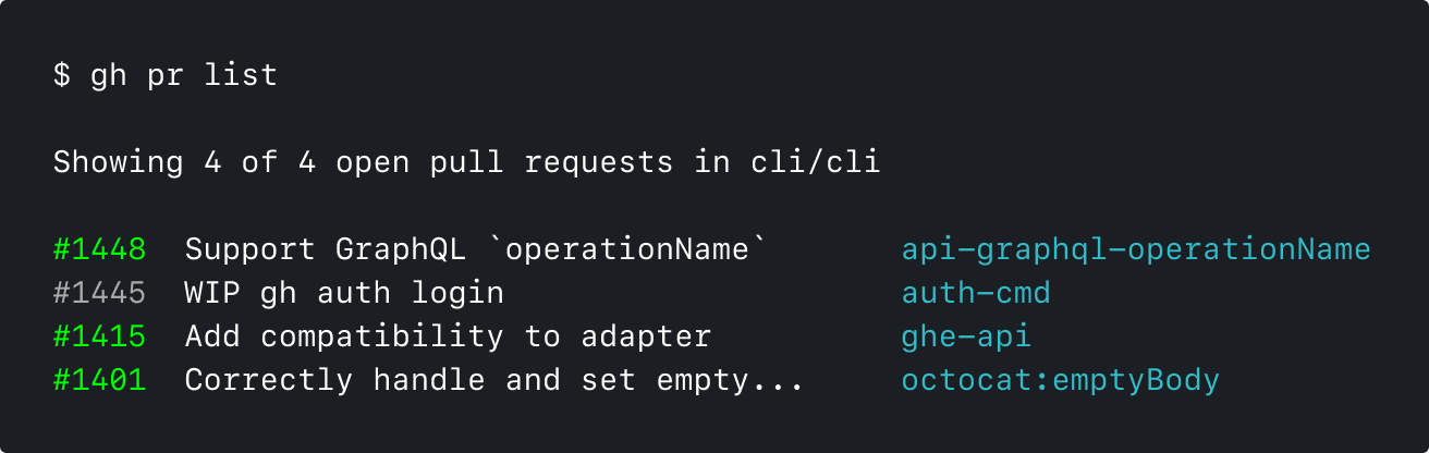 An example of the header of the gh pr list command